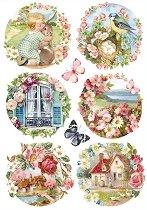 Декупажна хартия - Пролетни картини - Размери 21 x 29.7 cm