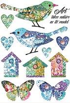 Декупажна хартия - Птици и пеперуди - Формат А4