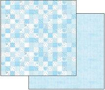 Хартия за скрапбукинг - Синьо каре - Размери 30.5 х 30.5 cm