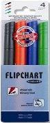 Флипчарт маркери със скосен връх 1 - 5 mm - Комплект от 4 цвята