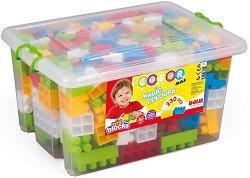Детски конструктор с едри части - Комплект от 230 елемента в пластмасова кутия - играчка