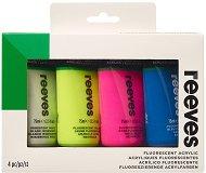 Акрилна флуоресцентна боя - Комплект от 4 цвята x 75 ml - боя
