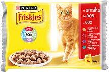 Friskies Cat with Meat in Sauce - Месни хапки в сос за котки в зряла възраст - опаковка от 4 пауча x 100 g -