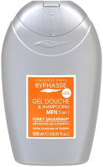 Byphasse Men Funky Savannah 2 in 1 Shower Gel and Shampoo - Мъжки душ гел за коса и тяло - душ гел