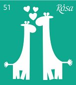 Самозалепващ шаблон - Жирафи - Размери 9 х 10 cm