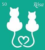 Самозалепващ шаблон - Влюбени котки - Размери 9 х 10 cm