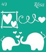Самозалепващ шаблон - Влюбени слончета - Размери 9 х 10 cm