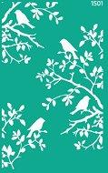 Самозалепващ шаблон - Клони с птици - Размери 13 х 20 cm