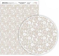 Картон за скрапбукинг - Бели цветчета - Формат A4