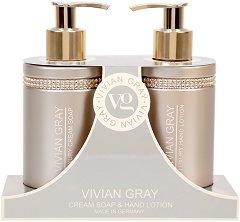 """Vivian Gray Brown Crystals Cream Soap & Hand Lotion Gift Set - Подаръчен комплект с течен сапун и лосион за ръце от серията """"Brown Crystals"""" - продукт"""