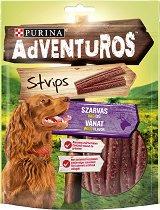 Adventuros Strips Venison Wild Flavour - Лакомство с аромат на еленско месо за кучета в зряла възраст - опаковка от 90 g - продукт