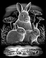 Зайчета - Скреч картина с размери 20 x 25 cm