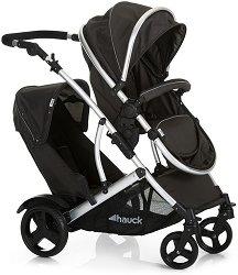 Комбинирана бебешка количка за близнаци - Duett 2: Black - С 4 колела -