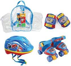 Детски ролкови кънки - Пес Патрул - Комплект с протектори и каска - продукт