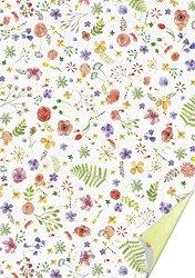 Картон за скрапбукинг - Акварелни цветя