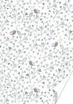 Картон за скрапбукинг - Птици и сърца - Формат А4