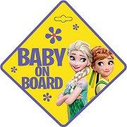 Табела с надпис Baby on Board - Замръзналото кралство - Аксесоар за автомобил - чаша