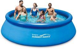 Кръгъл надуваем басейн - Summer Waves Quick Set - Комплект с филтърна помпа и стълба - басейн