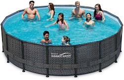 Басейн с метална конструкция - Summer Waves Elite Frame - Комплект със скимер филтър, стълба и аксесоари - басейн