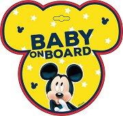 Табела с надпис Baby on Board - Мики Маус - Аксесоар за автомобил -