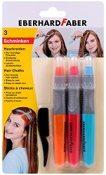 Цветни тебешири за коса - Комплект от 3 цвята и гребен - детски аксесоар