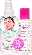 Byphasse Re-hydrating Promo Pack - Промопакет от хидратиращ спрей за лице за суха и чувствителна кожа + мицеларна вода -