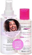 Byphasse Re-hydrating Promo Pack - Промопакет от хидратиращ спрей за лице за комбинирана към мазна кожа + мицеларна вода - душ гел