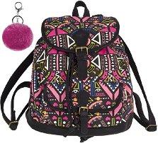 Ученическа раница - Fiesta: Pink Ethnic - Комплект с ключодържател - помпон - раница