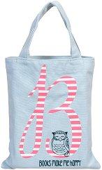 Текстилна чанта за книги - Books Make Me Happy -