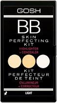 Gosh BB Skin Perfecting Kit - Палитра с два коректора и хайлайтър за лице - маска