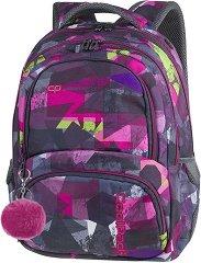Ученическа раница - Spiner: Pink Abstract - Комплект с ключодържател - помпон - раница