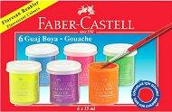 Флуоресцентни темперни бои - Комплект от 6 цвята х 15 ml