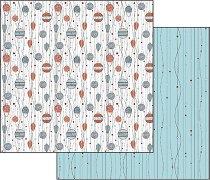 Хартия за скрапбукинг - Коледни играчки - Размери 30.5 х 30.5 cm