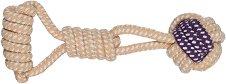 Плетено въже с топка - Играчка за кучета -