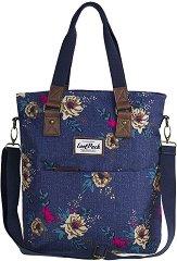 Чанта за рамо - Amber: Blue Denim Flowers -
