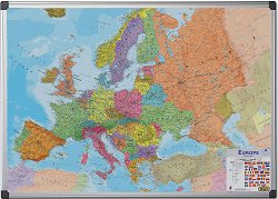 Двустранна магнитна бяла дъска с карта на Европа - С размери 90 x 120 cm
