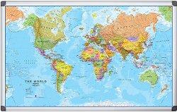 Двустранна магнитна бяла дъска с карта на Света - С размери 90 x 120 cm