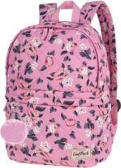 Ученическа раница - Fanny: Pink Rose Garden - Комплект с ключодържател - помпон - раница