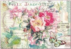 Декупажна хартия - Рози и пеперуди - С размери 50 x 35 cm