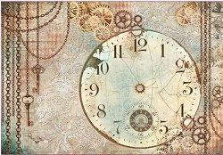 Декупажна хартия - Часовник - Размери 50 x 35 cm
