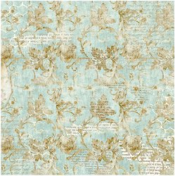 Декупажна хартия - Цветя и писания - Размери 50 x 35 cm