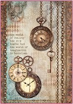 Декупажна хартия - Часовници и ключове - Формат А4