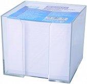 Бяло хартиено кубче с пластмасова поставка - Със 750 квадратни бели листчета с размер 8.5 x 8.5 cm