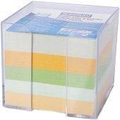 Цветно хартиено кубче с пластмасова поставка - Със 750 квадратни листчета с размери 8.5 х 8.5 cm