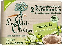 Le Petit Olivier Exfoliating Body Soaps with Olive Pit Powder - Ексфолиращи сапуни с маслина - опаковка от 2 броя x 100 g - продукт