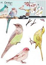Стикери за декорация - Птичета - Комплект от 2 листа с размери 35 х 25 cm