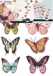 Стикери за декорация - Пеперуди - Комплект от 2 листа с размери 35 x 49 cm