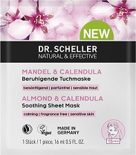 "Dr. Scheller Almond & Calendula Soothing Sheet Mask - Успокояваща целулозна маска за лице от серията ""Almond & Calendula"" - тоалетно мляко"