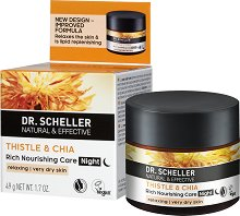 Dr. Scheller Thistle & Chia Rich Nourishing Night Care - Нощен крем за лице за много суха кожа с магарешки трън и чиа -