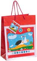 Торбичка за подарък - Щъркел - Размери 17.5 x 23 cm - продукт